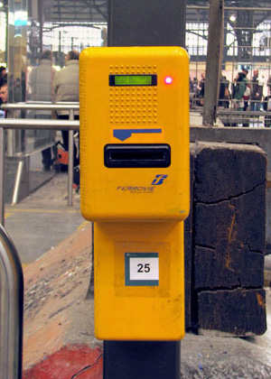 The ubiquitous yellow ticket validators that you must never EVER forget to use when taking the train.